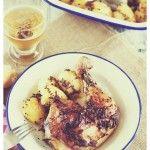 Patatas  y  pollo  horneado  a  la  antigua.