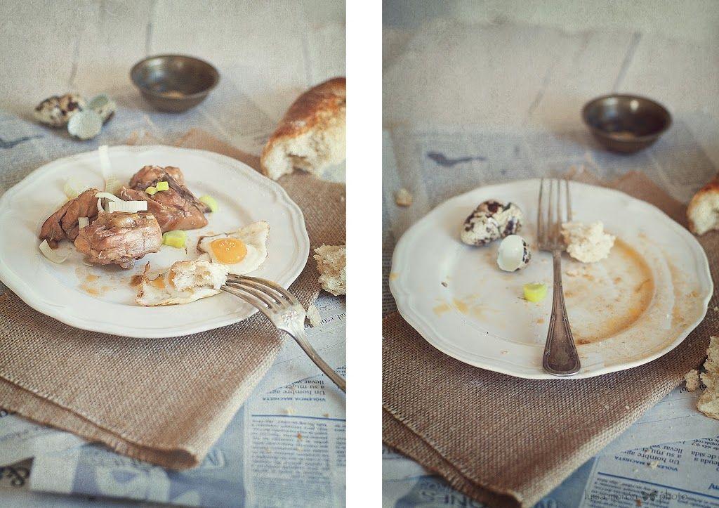 Pollo a la Jamaicana y huevos de codorniz.