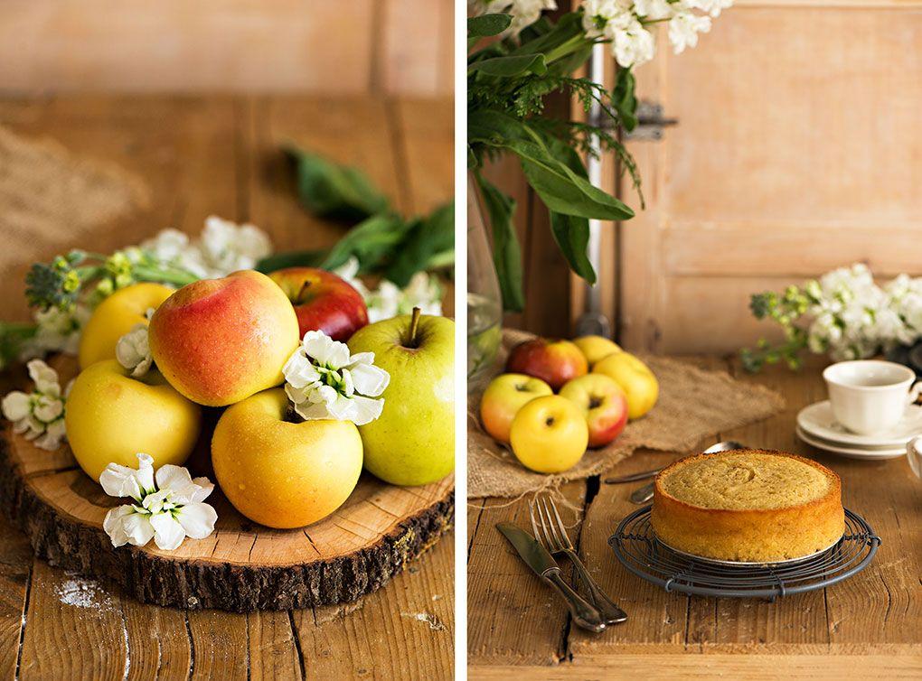 Bizcocho con manzanas doncellas, reinetas