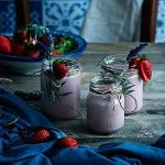 Smoothies de fresa y leche de soja
