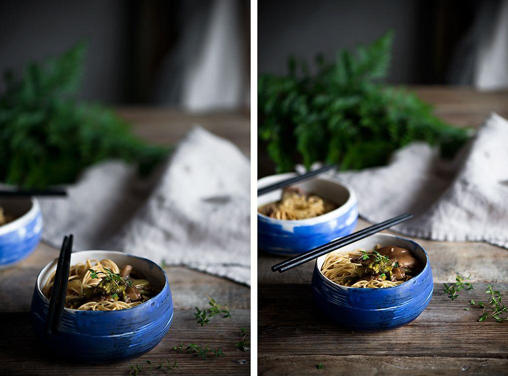 Sopa de fideos chinos y setas
