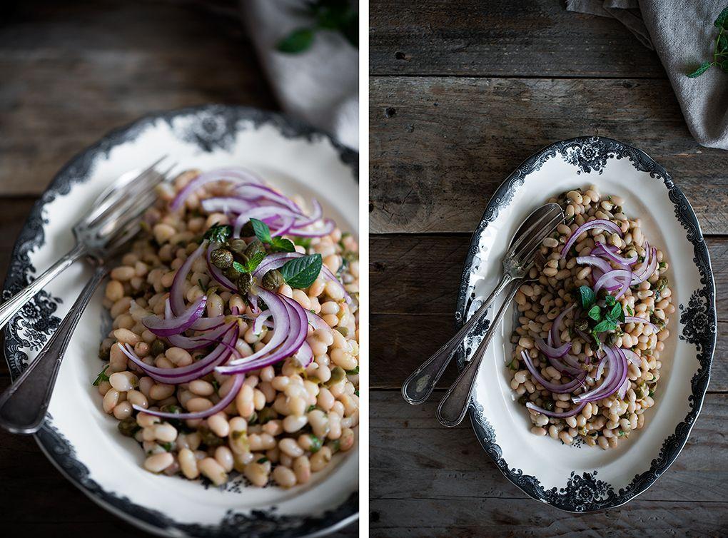 Ingredientes para ensalada fría de judías blancas