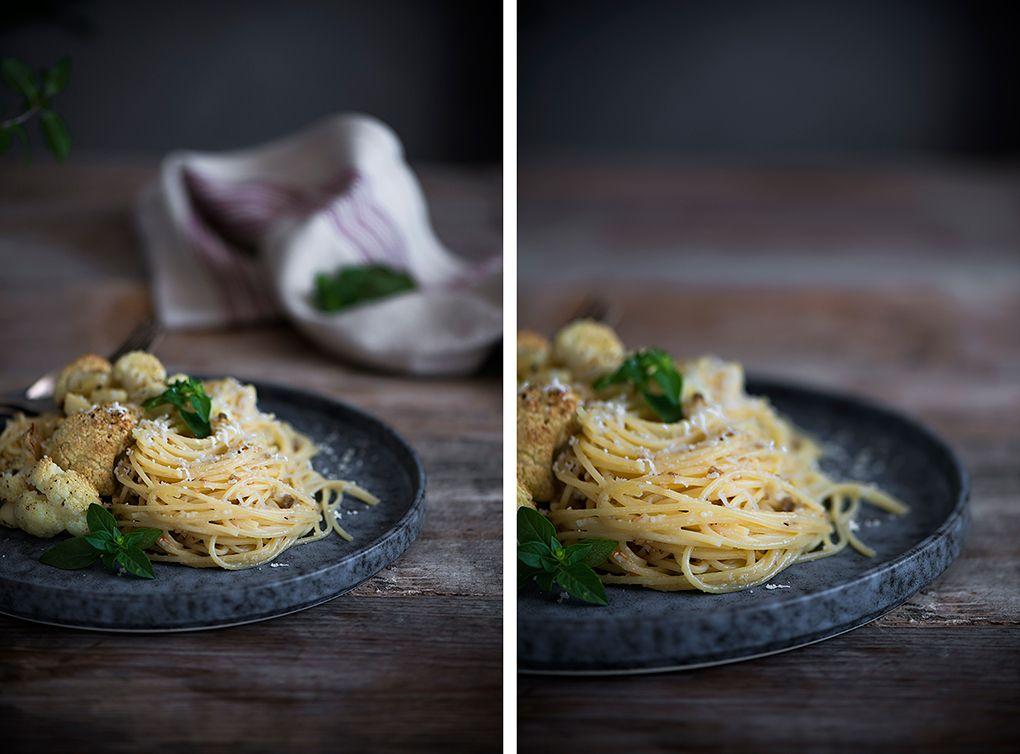 Ingredientes para receta de espaguetis con coliflor asada