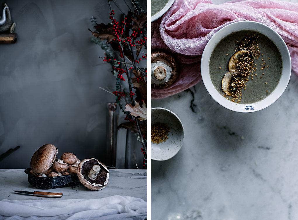 Crema de champiñones con puerros