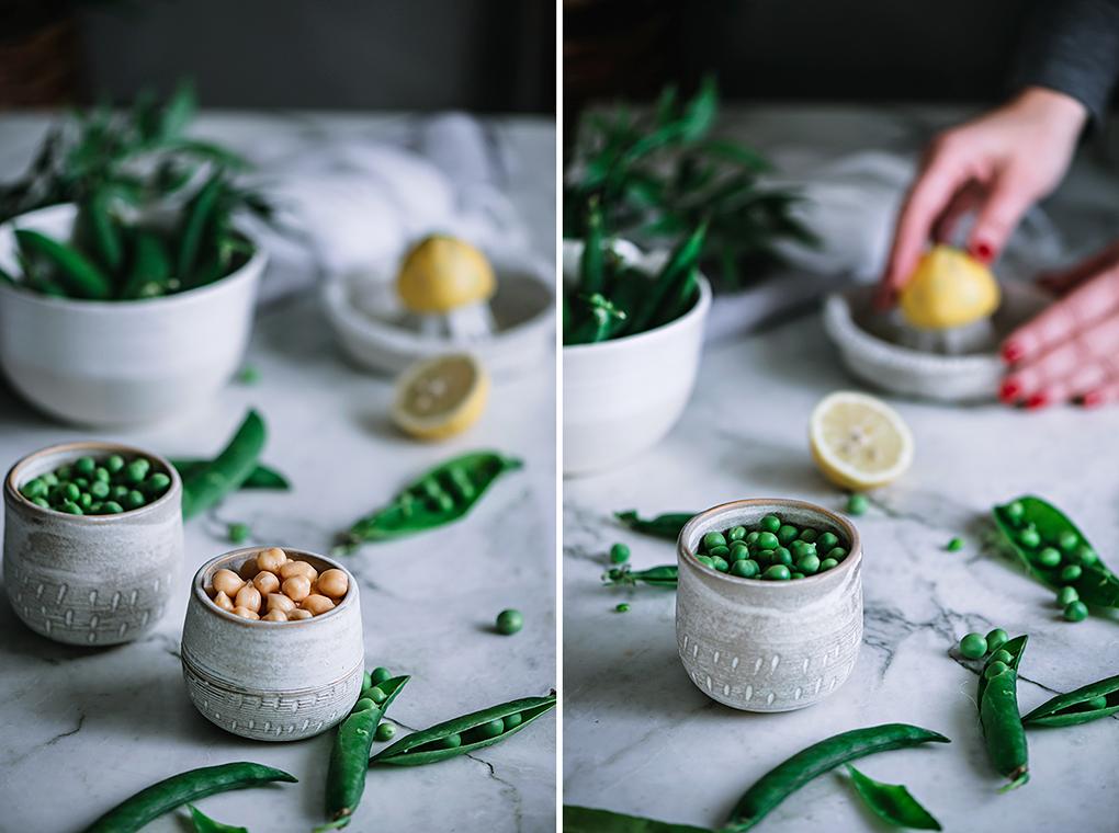 Ingredientes para el hummus de guisantes