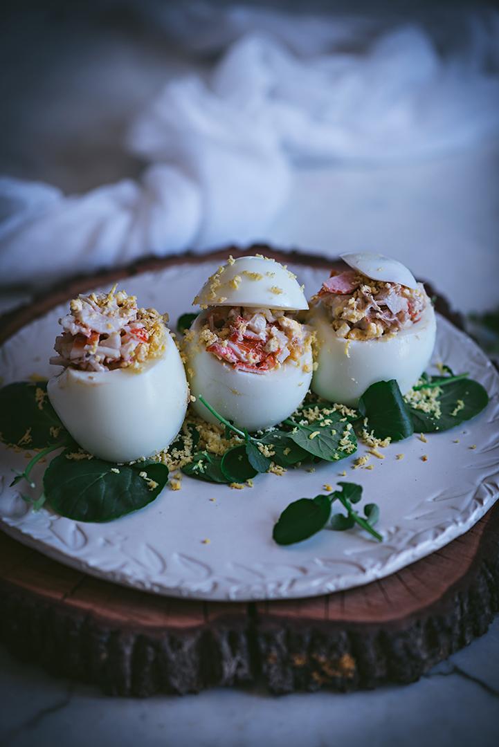 receta de huevos rellenos de cangrejos